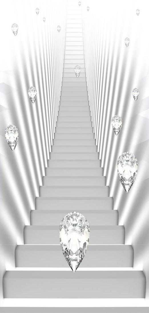 Carta Da Parati Fotomurale Per Porta - White Stairs And Jewels I 70x210cm Erroi
