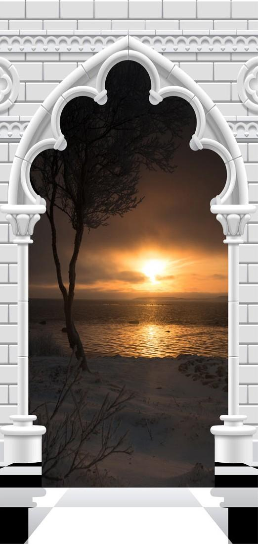 Carta Da Parati Fotomurale Per Porta - Gothic Arch And Sunset I 80x210cm Erroi