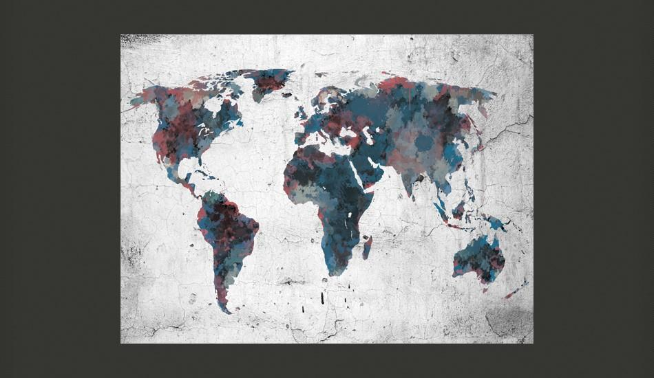 Fotomurale - World Map On The Wall 250X193Cm Carta Da Parato Erroi