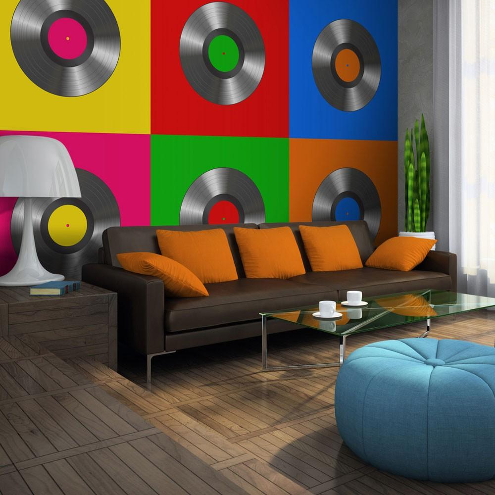 Fotomurale - Disco Vinile Pop Art 250X193Cm Carta Da Parato Erroi