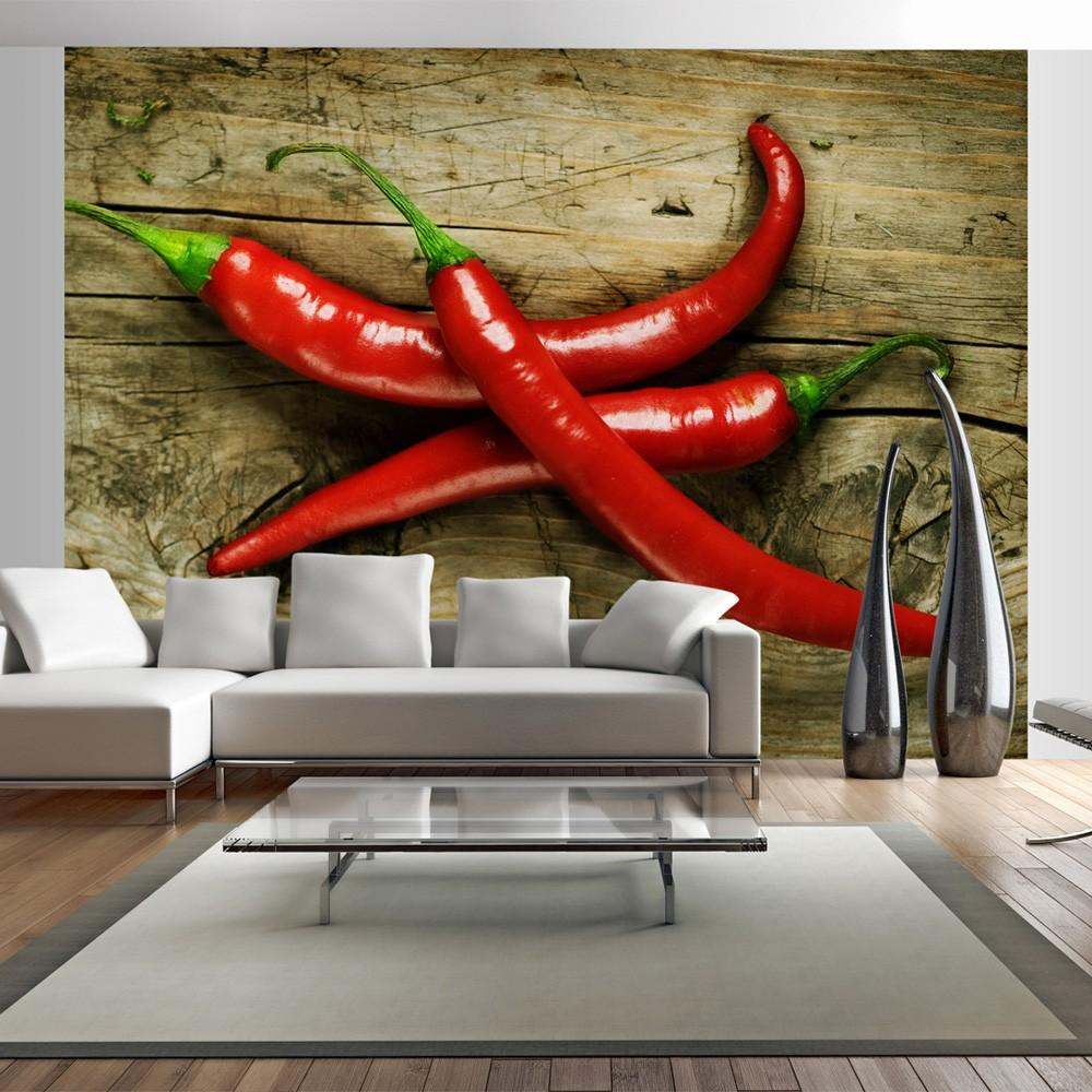 Fotomurale - Spicy Chili Peppers 250X193Cm Carta Da Parato Erroi