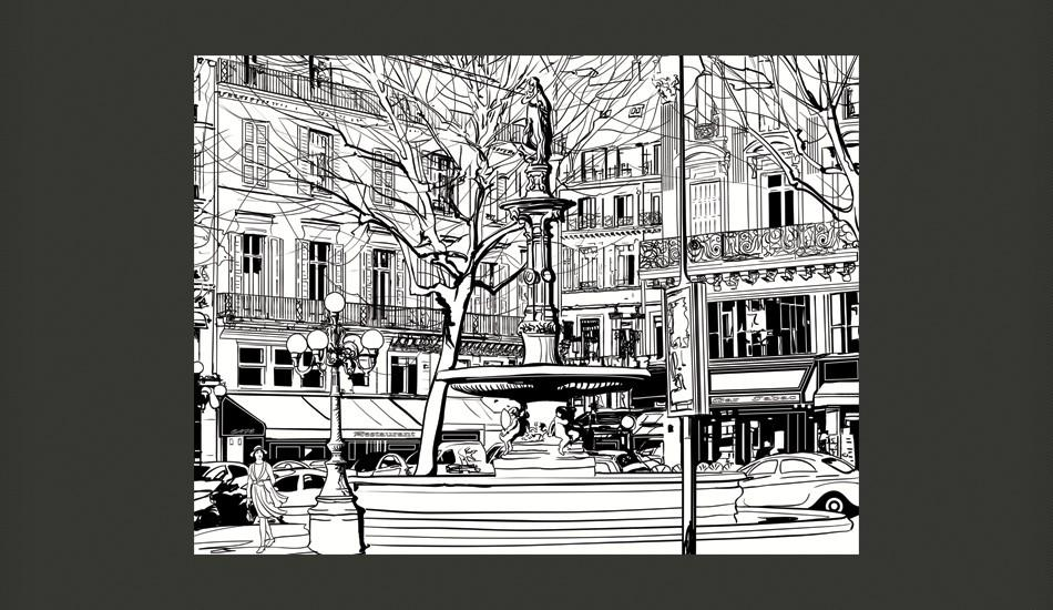 Fotomurale - Sketch Of Parisian Fountain 250X193Cm Carta Da Parato Erroi