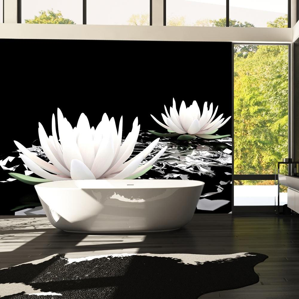 Fotomurale - Water Lilies On The Abstract Surface 250X193Cm Carta Da Parato Erroi