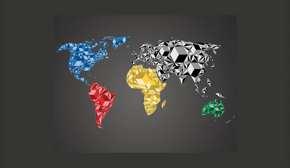 Fotomurale - Map Of The World - Colorful Solids 300X231Cm Carta Da Parato Erroi