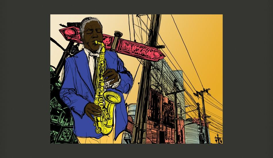 Fotomurale - Saxophonist In New York 300X231Cm Carta Da Parato Erroi