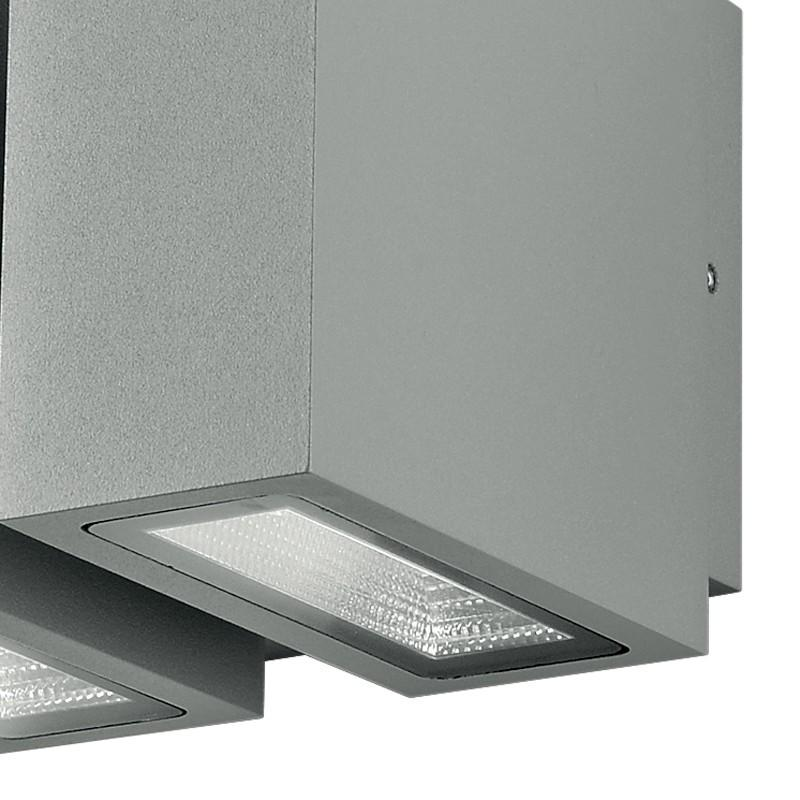 Applique Due Luci Flusso Luminoso Verso Alto e Basso Alluminio Silver Led 12 watt Luce Calda Intec LED-BETA-AP2