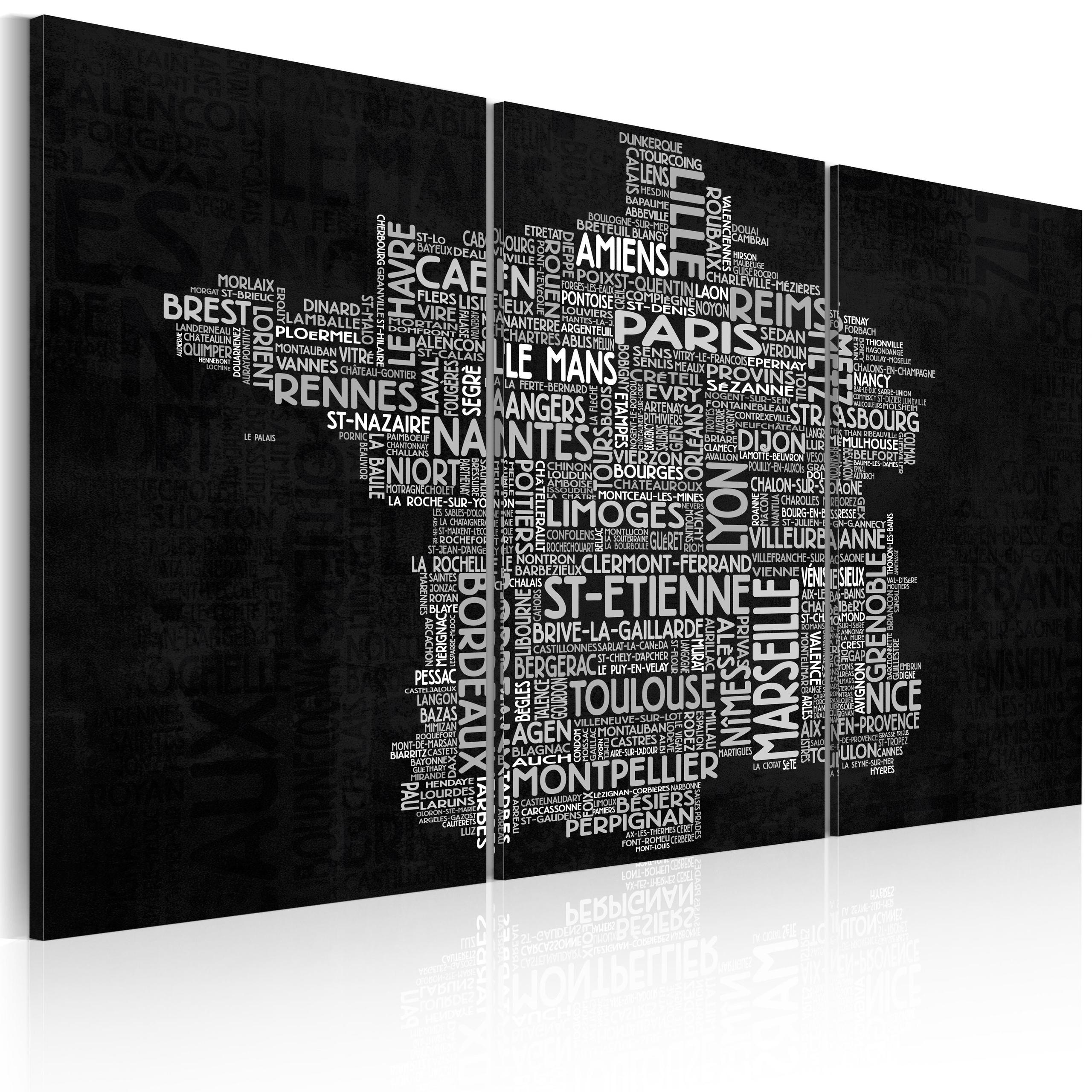 Quadro - Text Map Of France On The Black Background - Triptych Erroi