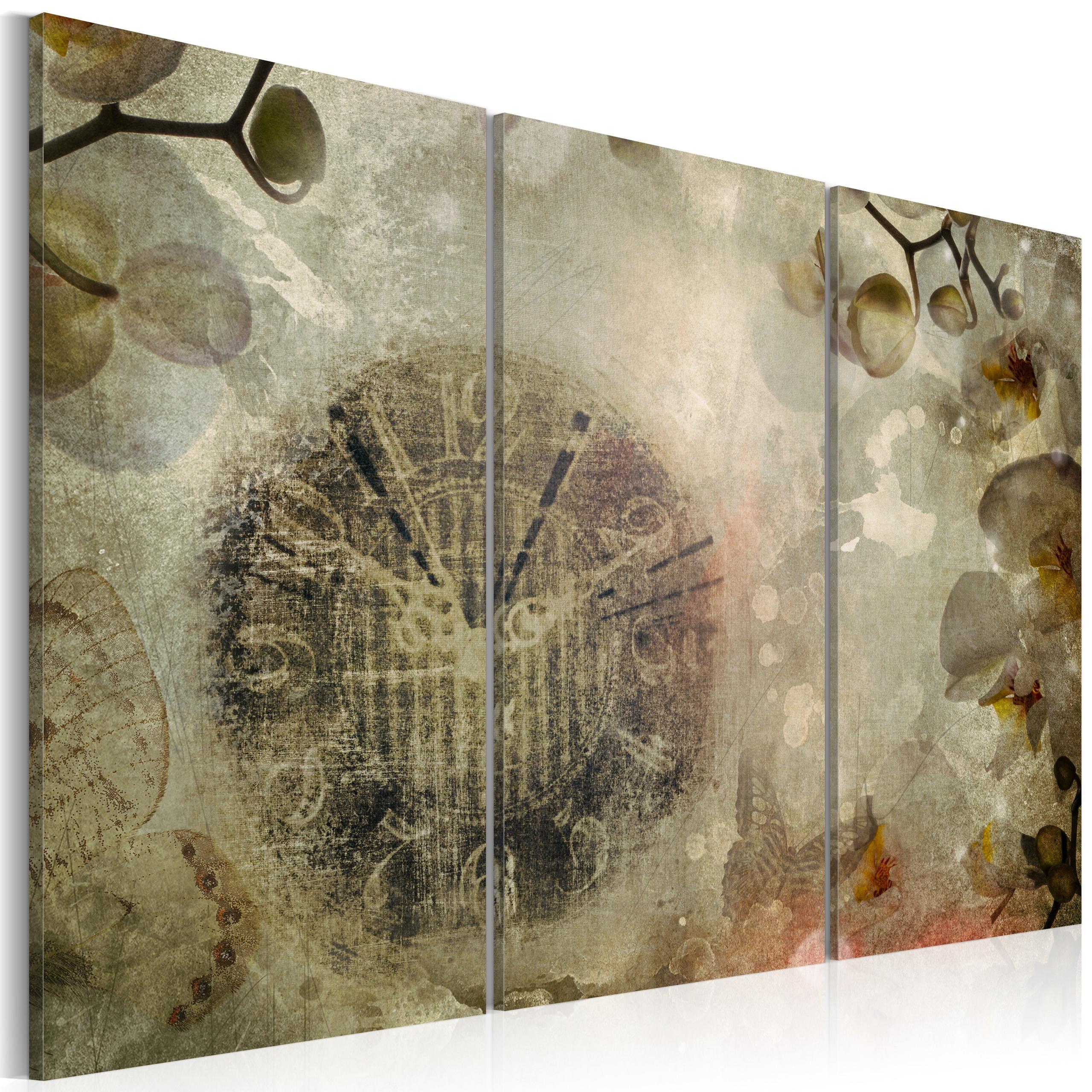 Quadro - Vintage, Clock And Orchid - Triptych Erroi
