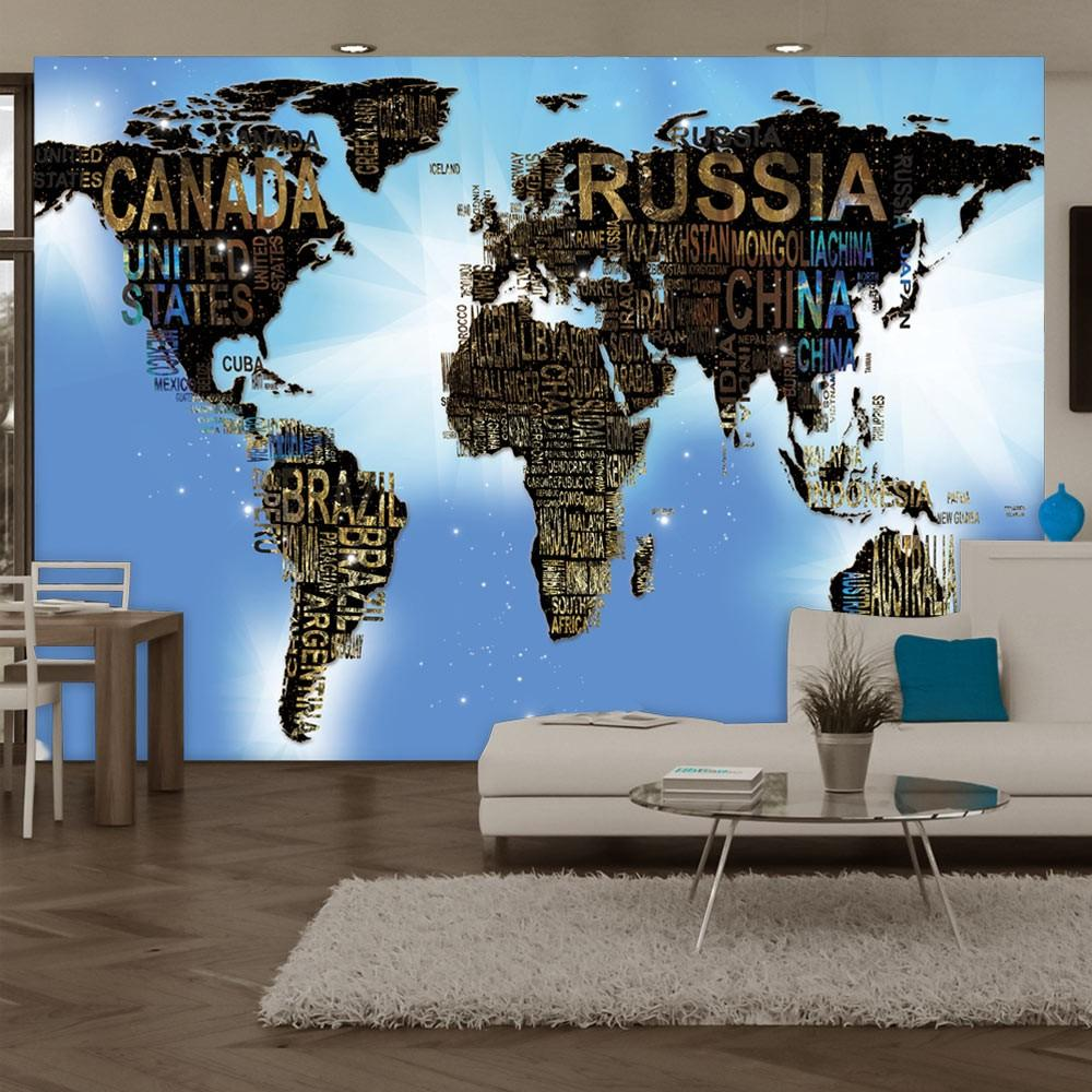 Fotomurale - World Map - Blue Inspiration Carta Da Parato Erroi