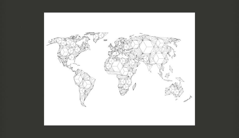 Fotomurale - Map Of The World - White Solids Carta Da Parato Erroi