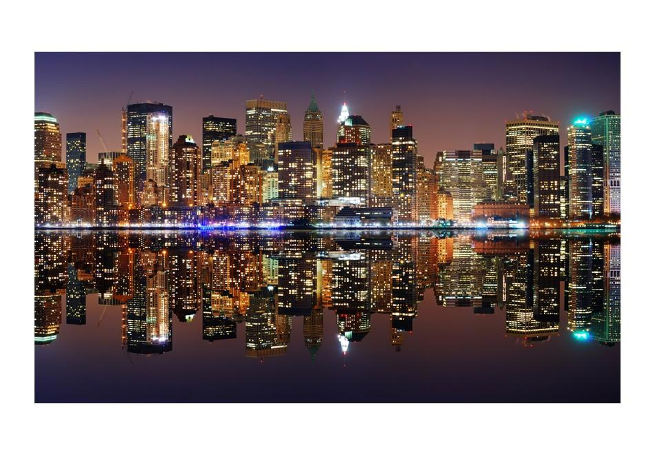 Carta Da Parati Fotomurale - Gold Reflections - Nyc 450x270cm Erroi