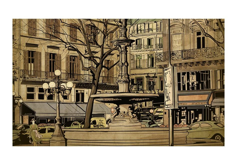 Carta Da Parati Fotomurale - Parisian Fountain 450x270cm Erroi