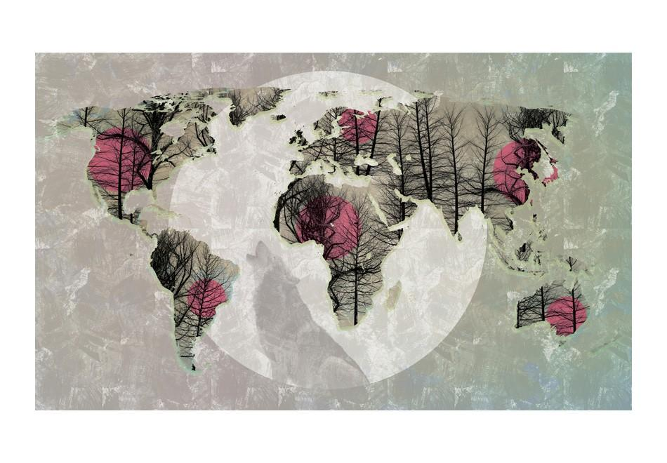 Carta Da Parati Fotomurale - Map Of The World - Howling To The Moon 450x270cm Erroi
