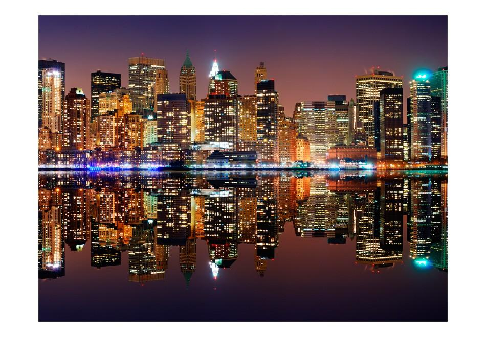 Carta Da Parati Fotomurale - Gold Reflections - Nyc 200x154cm Erroi