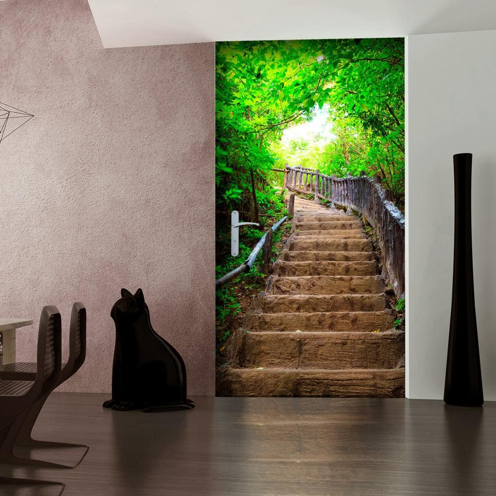 Carta Da Parati Fotomurale Per Porta - Stairs From Nature I 100x210cm Erroi