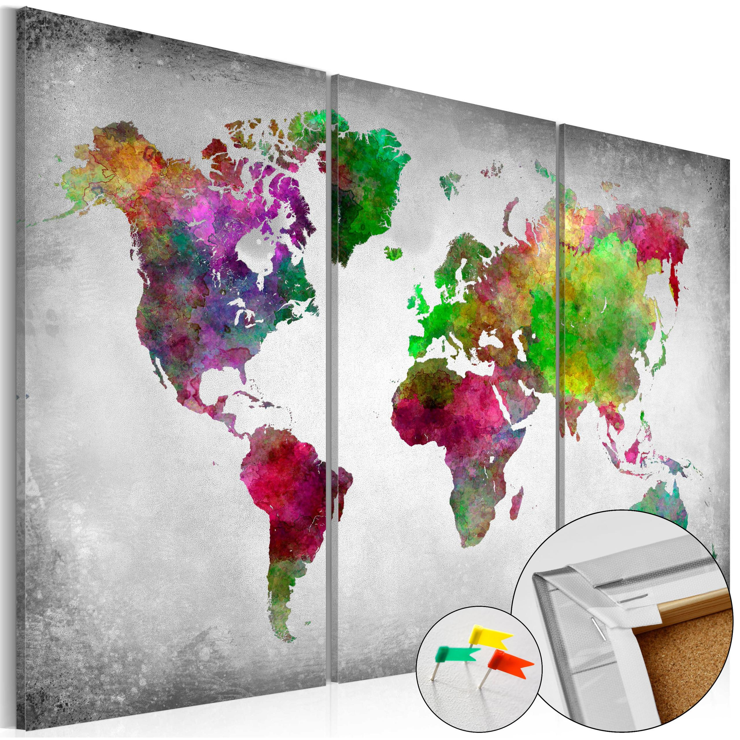 Quadro Di Sughero - Diversity Of World [Cork Map] 120x80cm Erroi