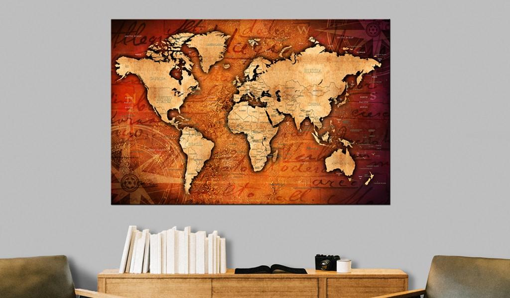 Quadro Di Sughero - Amber World [Cork Map] 120x80cm Erroi