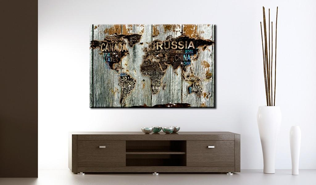Quadro Di Sughero - Wooden Border [Cork Map] 120x80cm Erroi