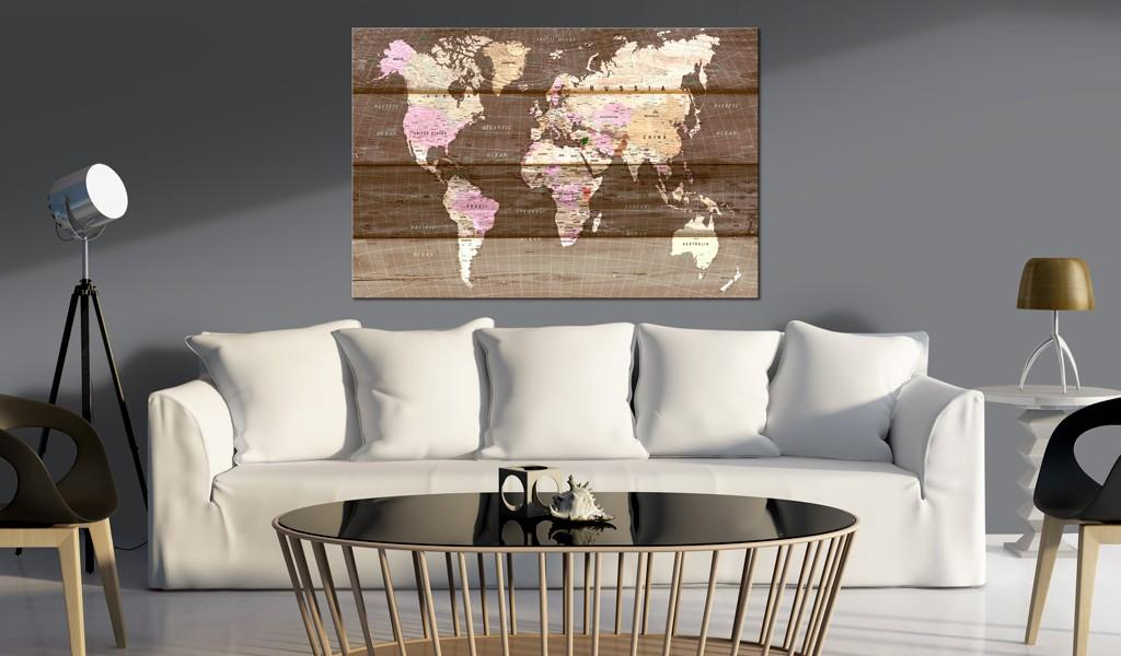 Quadro Di Sughero - Wooden World [Cork Map] 90x60cm Erroi