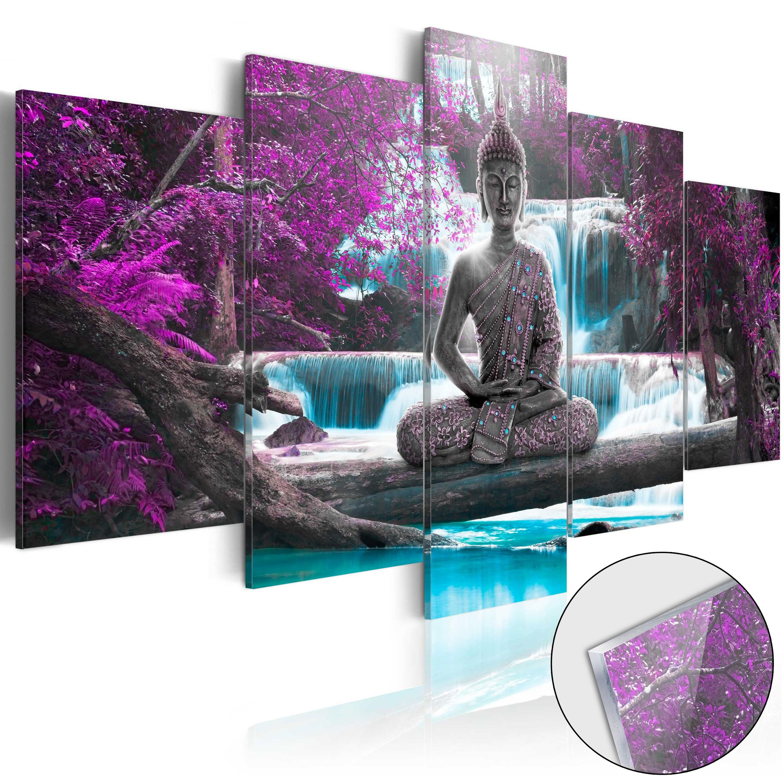 Quadro Su Vetro Acrilico - Waterfall And Buddha 100x50cm Erroi